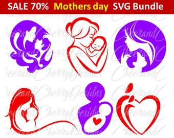Mothers day SVG Mother's day clipart Mommy and baby SVG Mum Clip Art Mama Kid I love mom Mother Silhouette Cameo Cricut Cut File Scrapbook