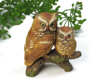 Vintage Porcelain Owl and Owlet by Napcoware