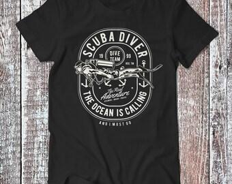 Scuba Diving , The Ocean is Calling Tee , Graphic T-shirt , Scuba Diver Shirt