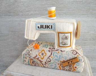 JUKI Sewing machine Pincushion Miniature Unique Handcraft Needle Decor Handmade Beige Blue Orange Gift