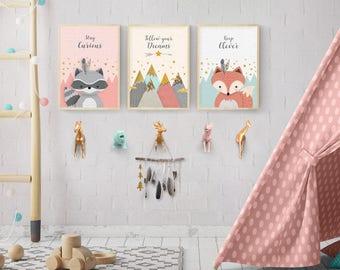3 print set, Woodland nursery, Forest friends set, Forest animal set, Nursery Art, Nursery forest decor, Fox, Raccoon, Mountains, Printable