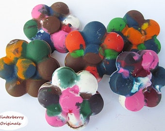 Upcycled Flower Crayons - Multi-Colored, Bag of 6 - Recycled Crayons, Party Favor, Stocking Stuffer