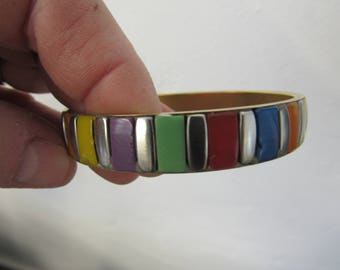 Vintage Brass and Colorful Plastic Bits Bangle
