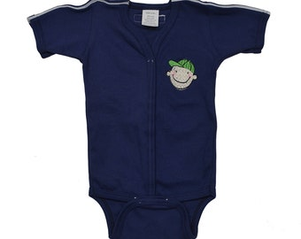Medical And G-Tube Accessible One-Piece Bodysuit/Adaptive Medical Clothes Preemie, Infant, Toddlers - Navy