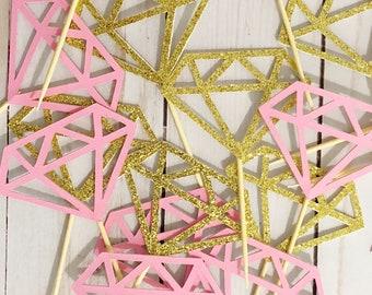 24 Diamond Donut Toppers, Diamond Toppers, Diamond Donut Toppers, Diamond cupcake Toppers, pink and gold diamond topper