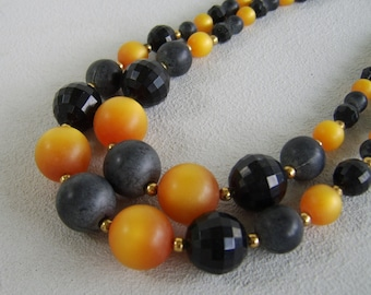 Vintage Celluloid Moonglow Necklace Grey Gold Black Double Strand