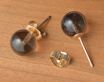 Natural Smoky Quartz stud earrings, Natural Smoky Quartz Studs, 6 mm and/or 8 mm size bead, Sterling Silver and/or Gold posts & ear-backs