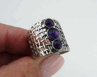 Hadar Jewelry Handcrafted Sterling Silver Amethyst Ring size 7, Purple 925 Silver ring, Israeli Jewelry, Birthday gift, Everyday  (H 142)