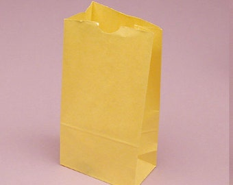 25 - Solid Yellow  Flat Bottom Paper Merchandise or Lunch Bags - 4.25 x 2.375 x 8.18 Inches - Gifts, Packaging, Retail