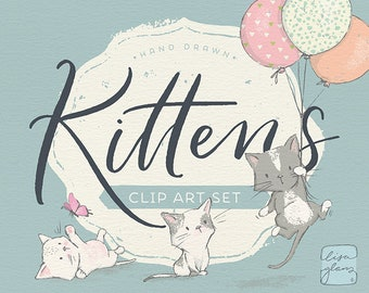 Spring kitten clipart set: kittens & butterflies clip art, cat clipart, instant download kitten clipart with PNG files for commercial use