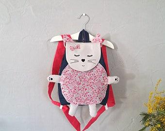 Backpack child crib / nursery personalized name, kids school bag, baby girl in STOCK cat bag
