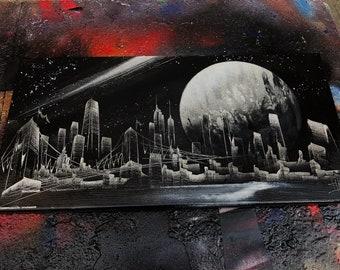 Moon light. Spray Paint Art.