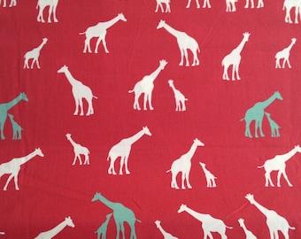 Giraffe Family Coral by Birch Fabrics