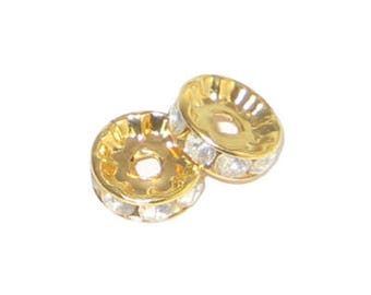 8mm Gold Rhinestone Spacer Beads, 8 spacers