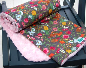 Baby Minky Blanket - Budquette in Nightfall - Floral, Gray, Pink, Yellow, Blue- Ready to Ship
