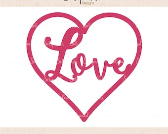 Love and Heart - SVG and DXF Cut Files - for Cricut, Silhouette, Die Cut Machines // scrapbooking // paper crafts // solipandi // #181