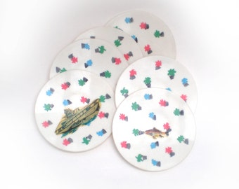 Vintage toy plates. unusual post war design on six plastic plates. 1950's/1960's. By Games Boy