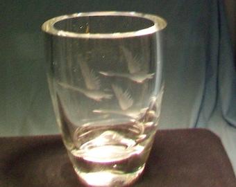 Strombergshyttan Crystal Geese In Flight Vase
