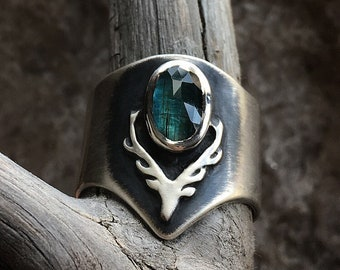 Oval Tourmaline Stag Ring // Sterling Silver Ring Size 7.25-7.5