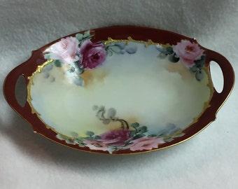 Hand-painted Bavarian Rose Dish (#005)