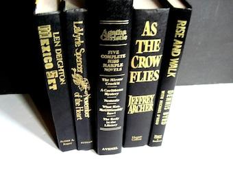Black Books, Manly Man Books, Black Book Stack, Wedding Book Decor, Madmen Books, Office Decor, Black Book Set, Boho Wedding Decor, Black