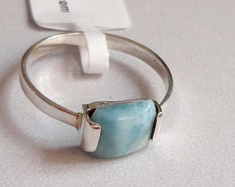 Blue Larimar Jewelry 925 Sterling Silver Ring Rectangle Gemstone Dainty Natural Handmade Tiny Cheap Gift Jewelry #14532
