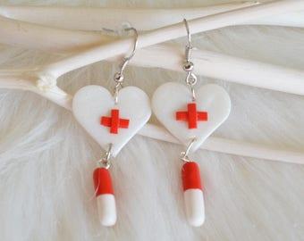 Polymer clay nurse earrings - Nurse gift - Fimo earrings - Nurse jewelry - Polymer clay white and red heart - Polymer clay capsule