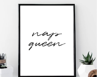 Nap Queen Print // Minimalist // Art // Typography // Fashion // Scandinavian Poster // Boho // Modern Office // Gift for Her // Home