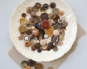 Vintage Button Lot - Black, Brown, Gold and Tan Set Bulk Sewing Collection Unique Mix 114