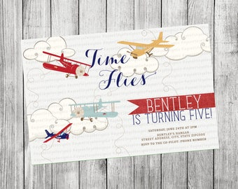 Airplane, Time Flies Invitation