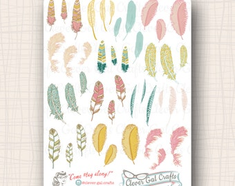 Wispy Feathers Planner Stickers | 42 Stickers Total | #SD14