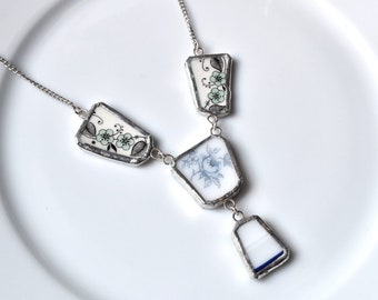 Broken China Jewelry Pendant - Blue and White Multi-Piece Necklace Blue and White