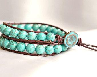 Multi wrap beaded bracelet, turquoise bracelet, leather bracelet, friendship bracelet, turquoise jewelry