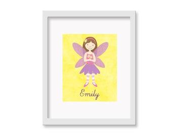 Personalized Fairy -  Children's Decor Nursery Wall Art - Flower Fairy Wall Art - 8 x 10 Print