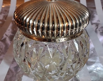 Vintage Avon Cut Glass Vanity Jar with Metallic Lid