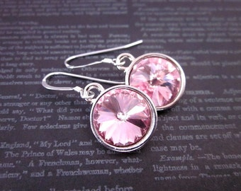 Light Pink Drop Earrings, Silver & Light Pink Earrings, Light Pink Swarovski Jewelry, Light Rose Pink Earrings, Light Pink Crystal Earrings