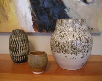 Brown and White Signed Salt Glazed Art Pottery Vase