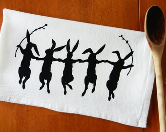 Dancing Rabbit Kitchen Towel, Bunny Dish Towel, Dancing Bunny Tea Towel, Easter Tea Towel, Rabbit Tea Towel, Hand Printed Flour Sack Towel