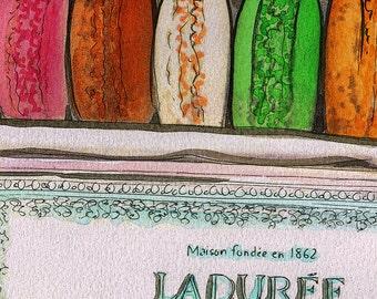Original Watercolour Painting Print - Laduree Macarons