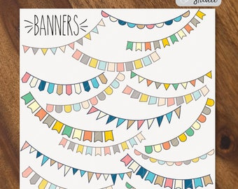 Bunting Banners SVG - Different shapes Party flags Vector - Birthday Garland - Formats: Png, Svg, Dxf, Eps, Pdf - Digital image Download