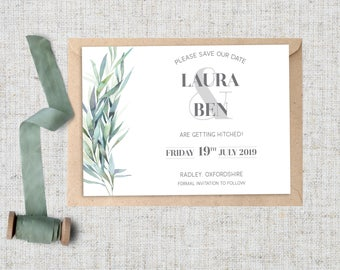 FOLIAGE Save the Date cards. Wedding. Leaves. Botanical. Greenery. Eucalyptus. Invitations also available