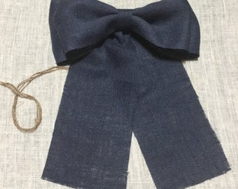 "12"" Wide NAVY BLUE Burlap Pew Bow Chair Wedding Venue Rustic Baby Boy Shower Cottage Chic Primitive"