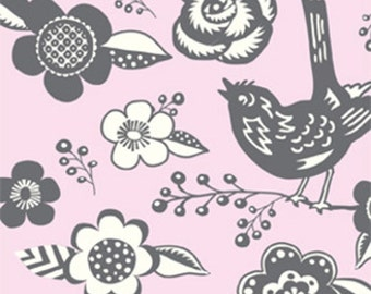 Quilting cotton fabric by the yard, girl fabric, woodland fabric in pink by fabric designer Paula Prass.