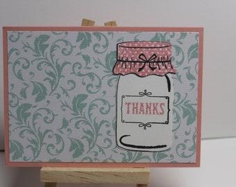 "Mason Jar ""Thanks"" card set, Thank you card set, Thank you cards"