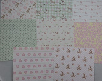 "Assortment of ""girl"" 3 small patterned papers"