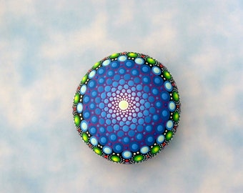 Mothers day gift for Mom mid-day self-time meditation mandala stone painted rocks ombre blue ultra violet neon glow 3D dot art lace pattern