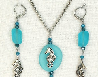 Turquoise Beach Glass Necklace and Earring Set, Seahorse Jewelry Set, Aqua Summer Fun Stainless Steel Leverback Earrings n Pendant Necklace