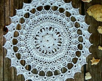 "White crochet doily Round 33 cm / 13"". Crocheted Doily."