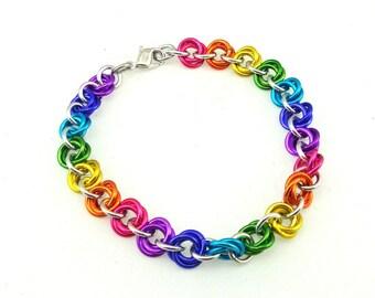 Chainmaille Jewellery, Mobius flowers Bracelet, Rainbow