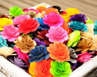 150  Pcs Colored Birch Wood Roses  WHOLESALE for Weddings, Home Decorations, Scrapbooking and Floral Arrangements